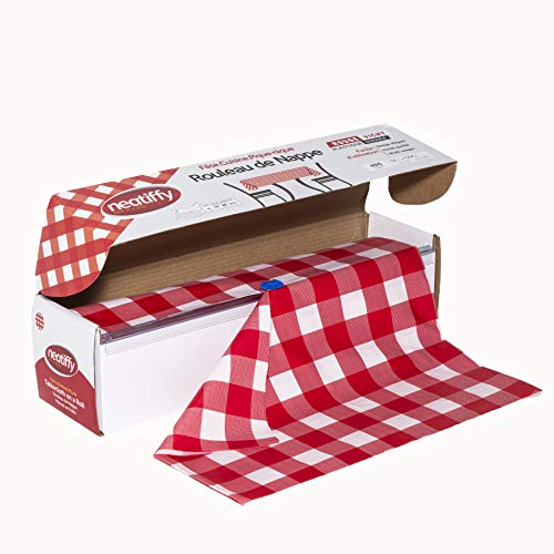 Neatiffy Disposable Plastic Table Cloth Roll | 54 in x 108 Ft Waterproof Tablecloth | Table Cover for Rectangle, Square, Round Oval Tables | Picnic, Party, Banquet, Birthdays, Weddings(Red Checkered)