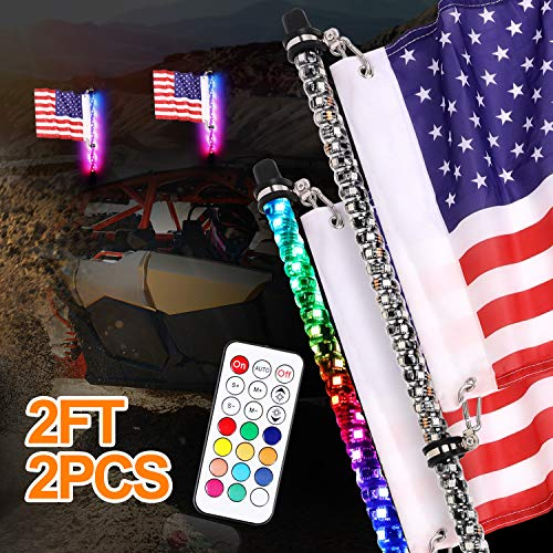 DJI 4X4 2Pcs 2ft LED Whip Lights with Flag Remote Control 360° Spiral LED Whips RGB Dancing/Chasing Antenna Lighted Whips for UTV ATV RZR Polaris Off Road Truck Buggy Dune Sand Can-am Boat