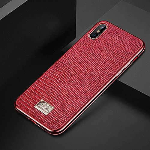 Galvanoplastia adecuado para iPhoneX funda de teléfono móvil Apple XR todo incluido XSMAX anti-caída 78Plus personalización-rojo_iPhoneXR