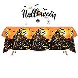 M2xcec 1 Stück Rechteckige wasserdichte Halloween Tischtuch(137 x 225 cm), Gruselige Skelett und Kürbis Tischdecke, Halloween Dekoration, Grusel Dekoration, Partyzubehör, Mottoparty, Karneval