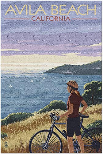 YYTOOF HD Avila Beach California - Frau mit Fahrrad in Ocean Hillside-Szene (Premium 500-teiliges Puzzle für Erwachsene 52*38cm Made in USA!)