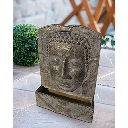 Heissner 016582-00 Garten/Terrassen Brunnen Polystone Buddha, grau
