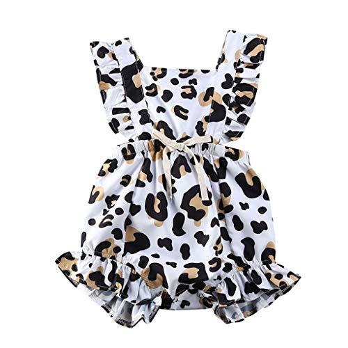 LEXUPE Neugeborenes Baby Baby Sommer Leopard Rüschen Strampler Jumpsuit One Piece Outfits(Kaffee,68)