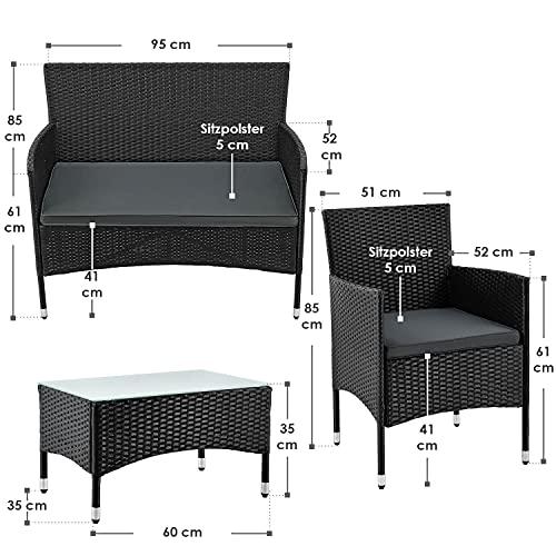 ArtLife Polyrattan Gartenmöbel-Set Fort Myers schwarz – Sitzgruppe mit Tisch, Sofa & 2 Stühlen – Balkonmöbel für 4 Personen mit grauen Auflagen - 2