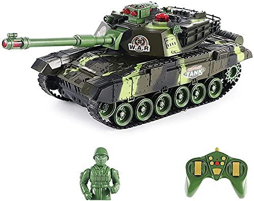 Guerlam Gran Tanque de Batalla Puede Cargar vehículos Fuera de Carretera RC Torreta de Coche 330 ° Vehículo de rotación 45 ° Coche de Escalada 2.4GHz Coche de Juguete for niños.