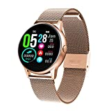 HQHOME Fitness Tracker, HD Touchscreen Smartwatch Wasserdicht IP68 Fitness Armband mit Pulsmesser Aktivitätstracker Pulsuhren Schrittzähler Smart Watch Uhr für Damen Herren (Edelstahlarmband-Gold)