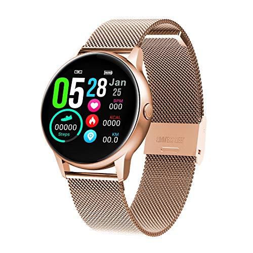 HQHOME Fitness Tracker, HD Touchscreen Smartwatch Wasserdicht IP68 Fitness Armband mit Pulsmesser Aktivitätstracker Pulsuhren Schrittzähler Smart Watch Uhr für Damen Herren (Edelstahlarmband-Gold)
