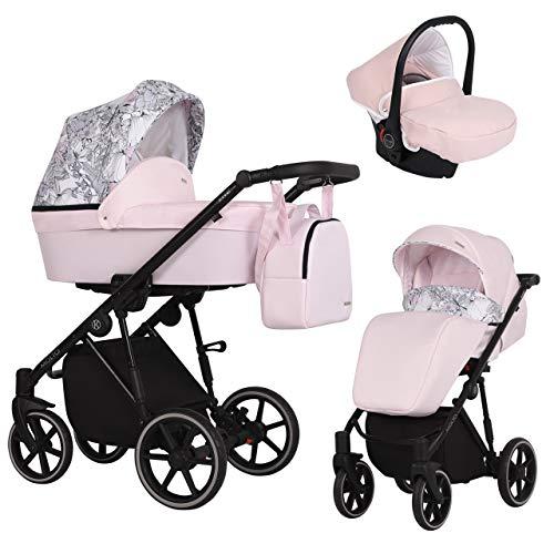 KUNERT Kinderwagen MOLTO Sportwagen Babywagen Autositz Babyschale Komplettset Kinder Wagen Set 3 in 1 (Rosa mit Blumen, Rahmenfarbe: Schwarz, 3in1)