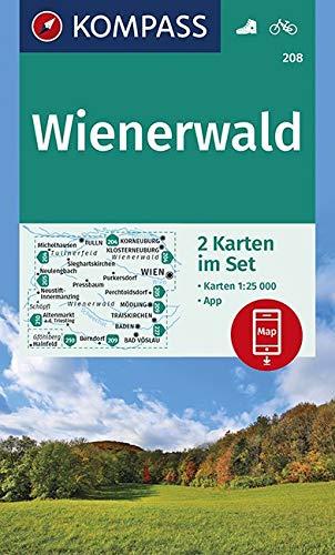 KOMPASS Wanderkarte Wienerwald: 2 Wanderkarten 1:25000 im Set inklusive Karte zur offline Verwendung in der KOMPASS-App. Fahrradfahren. (KOMPASS-Wanderkarten, Band 208)