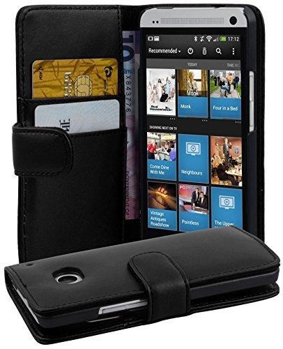 Cadorabo Hülle für HTC ONE M7 in KAVIAR SCHWARZ – Handyhülle aus glattem Kunstleder mit Standfunktion & Kartenfach – Hülle Cover Schutzhülle Etui Tasche Book Klapp Style