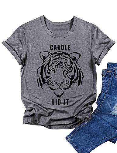 FEMLE Mujeres Carole Did IT Tiger Camisetas Estampadas gráficas Novedad Soft Tops tee
