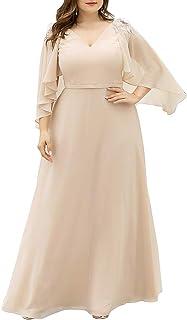 Ever-Pretty Plus Size Maxi Chiffon Formal Evening Dress Bridesmaid Dress Wedding Guest Dress 0638-PZ