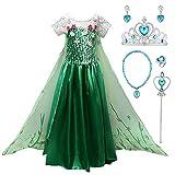 YOSICIL Mädchen Prinzessin ELSA Kostüm Mädchen Eiskönigin Kostüm 2 ELSA Kleid Cosplay Party...