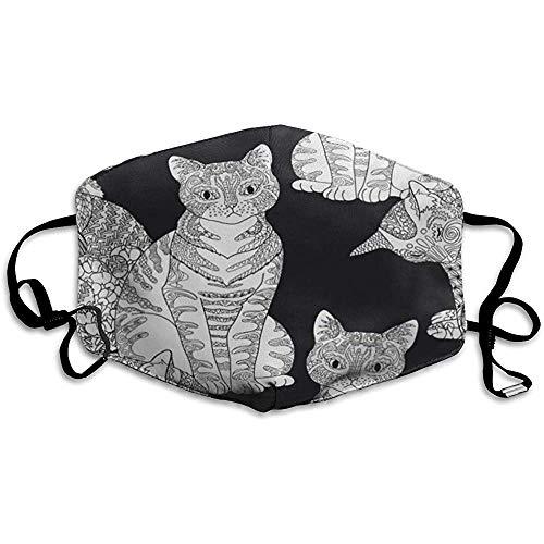 Mundmasken, Mehrzweckmasken-High Detail Haustiere in Zentangle Adult Malvorlagen Katzen Antistress Therapie Zendoodle