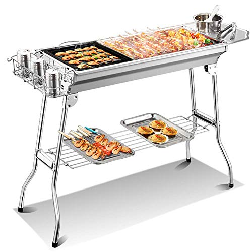 NMBD Charcoal Barbecue Grill, Portable Bbq Grill,portable Barbecue Grill for 5-15 Persons, Big Size (73x33.5x70cm) Charcoal Bbq for Table Camping Outdoor Garden Grill Bbq Party KAIRUI