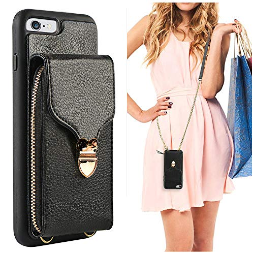 iPhone 6 Plus Wallet Case, JLFCH iPhone 6S Plus Leather Zipper Purse Buckle with Detachable Wrist Strap Crossbody Chain Card Slot Holder Case for Apple iPhone 6/6S Plus 5.5 inch - Black