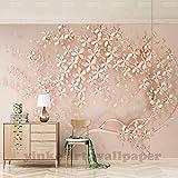 Fototapete Tapete Eleganter Luxus Personalisiert 3D Große Stereoskopische Blume 3D Wand Gold Rosa 3D Tapete Für Wohnzimmer Tv Hintergrund 3D Tapeten, 350 * 245 Cm