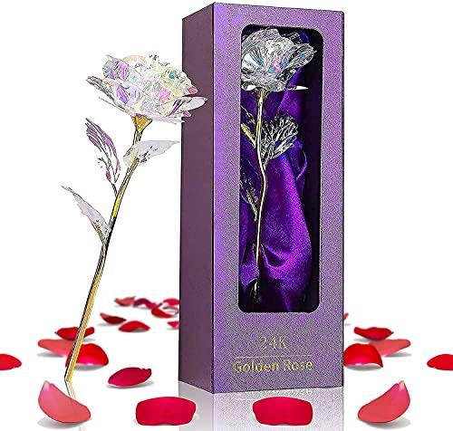 Rosa de oro de 24 quilates, regalo para el día de la madre, San Valentín, novia, regalo original para mujer, novia, madre, abuela, rosa eterna, hecha a mano, con caja de regalo