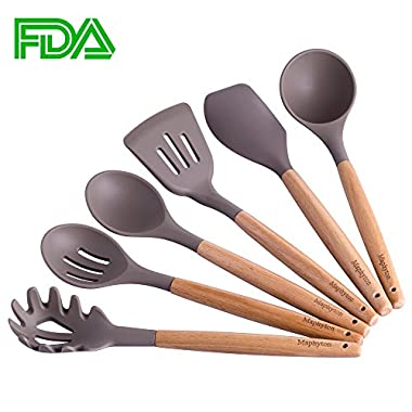Silicone Cooking Utensils, 6 Pieces Nonstick Kitchen Utensil Set BPA Free with Natural Acacia Hard Wood Handle by Maphyton