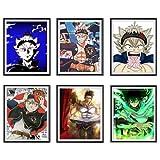 Set of 6 Black Clover Anime Art Prints Burst Yami Darkness Demon Asta Saint Yuno Japanese Anime Poster for Bedroom Decoration,8 x 10 Inches,No Frame