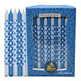 Dripless Chanukah Candles Standard Size - Star Decorated Blue & White Hanukkah Candles Fits Most Menorahs - Premium Quality Wax - 45 Count for All 8 Nights of Hanukkah - by Ner Mitzvah