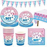 Amycute Kit Baby Shower Gender Reveal Stoviglie Boy or Girl, con Bicchieri di Carta, Tovaglioli di Carta, Piatti Carta,Tovaglia Rosa, Bandierina
