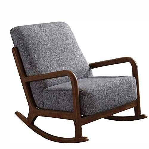 DSHUJC Stuhl Schaukelstuhl, Home Leisure Einzelsofa, Adult Leisure Chair, Nordic Massivholz Balkon Menschen, Nap Lounge Chair, Modern Fabric Armchair Relax Chair