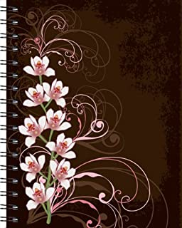 Wire-o Journal - Orchids on Brown - Large ( Black wire-o )