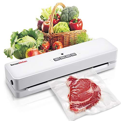 Bonsenkitchen Machine Sous Vide Alimentaire - Appareil Sous Videuse Alimentaire Pour la Cuisine et la Conservation - Rouleau Inclus, Soudeuse Sous Vide Blanc (VS3803)