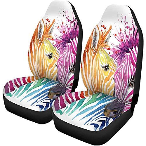 Feeling-Right Autositzbezüge Bunte Tier Lustige Zebra-Grafiken Rainbow Splash Aquarellfarbe Set Von 2 Protektoren Auto Universal