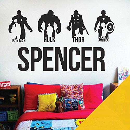 Vinilo decorativo para pared con nombre personalizado de los vengadores, Marvel, Iron Man, Capitán América, Thor, Hulk [Girasol]