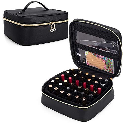 CURMIO Organizdor Esmaltes de Uñas, Organizador Pintauñas para 36 Botellas (15 ml / 0.5 fl.oz), Bolsa de Viaje para Esmalte de Uñas y Accesorios, Negro