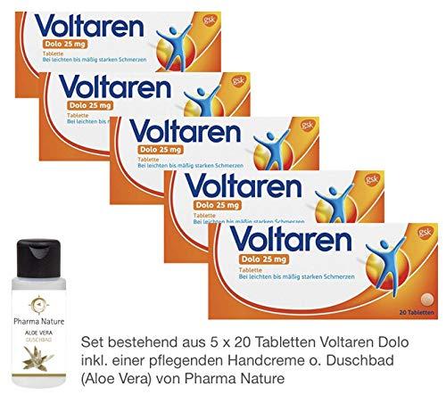 Voltaren Dolo 25 mg 5 x 20 Tabletten inkl. einer hochwertigen Handcreme o. Duschbad von Pharma Nature