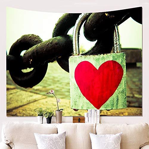 Wandtapijten, Romantische Liefde Hartslot Op Kettingen, Boheemse Hippie Spirituele Vogue Moderne Print Stof Muur Art Decor, Grote Maat Decoratieve Hangende Doek Voor Slaapkamer Woonkamer 230 × 150 cm