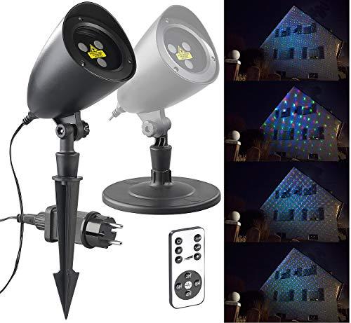 Lunartec Laserlicht: RGB-Laserprojektor mit Sternen-Lichteffekt & Fernbedienung, IP65/IP44 (Laser Weihnachten)