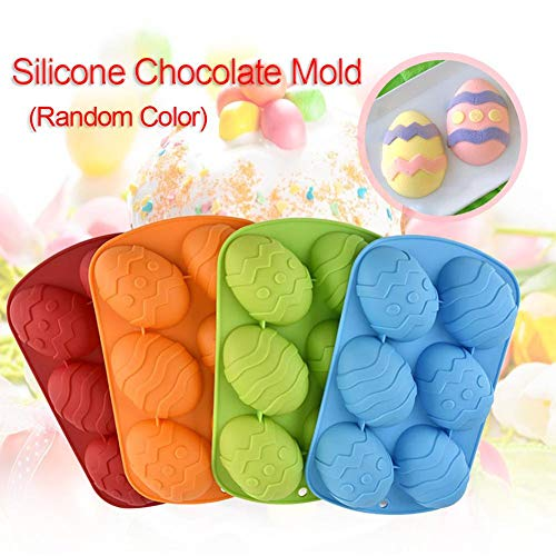 Adminitto88 Easter Egg Mold of Silicone with Easter Egg Silicone Chocolate Candy Molds of 6 Cavity DIY Mould Cookie Tray policarbonato Chocolate Mold for Candy Chocolate Jelly