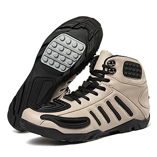 Botas de Moto Otoño Invierno con Protección TPU, Botas de Moto de Carreras Antideslizantes Transpirables Zapatos de Tobillo Cortos de Cuero para Hombre y Mujer,Khaki-41