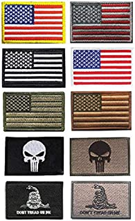 US American Flag Patch, Antrix 10 Pack Great Value Iron on Sew on Tactical USA American Flag US Army Flag Punisher Don't Tread on Me Fully Embroidered Military Morale Patches-3.15