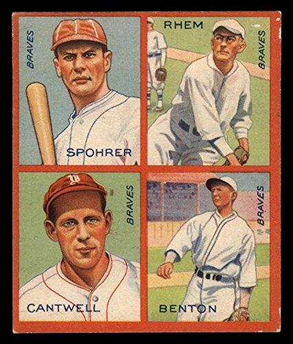 1935 Goudey 4-in-1 Al Spohrer/Flint Rhem/Ben Cantwell/Larry Benton Boston Braves (Baseball Card) VG Braves