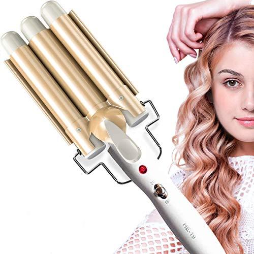 Aibeau, Lockenstab 3 Dreifache Fässer lockenstäbe Haarwickelzange Hair Waver Pearl Waving Lockenwickler, Wellenstyler Turmalin Keramik Digitale Temperaturanzeige für Lange/kurze Haare