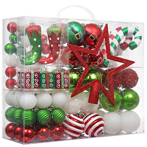 Valery Madelyn 100ct Delightful Elf Christmas Ball Ornaments with Tree Topper, Shatterproof Xmas Balls for Christmas Tree Decoration, Themed with Tree Skirt (Not Included)