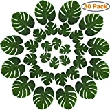 KatchOn Real Looking Artificial Plant Leaves - Pack of 30 | Monstera Leaf Decor | Tropical Leaves Party Decorations | Palm Leaves Decorations | Luau Safari Leaves Party | Jungle Theme Party Supplies