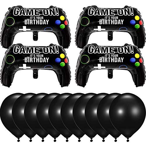 14 Stück Video Spiel Party Luftballons, 23,6 x 15,7 Zoll Game on Luftballons Aluminium Folien Ballon für Geburtstag Party Dekoration (4 Packungen Aluminium und 10 Packungen Latexballons)