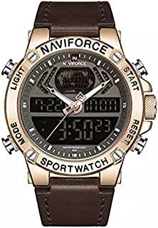NaviForce Men's Casual Watch Analog-Digital Leather NF9164-1 Brown Rose Gold