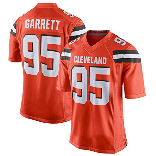 XJIANQI # 95 Garrett American Football Jersey Bordado Jersey Rugby Camiseta Secreado Rápido Sportswear Tops Tapeting Orange-XL