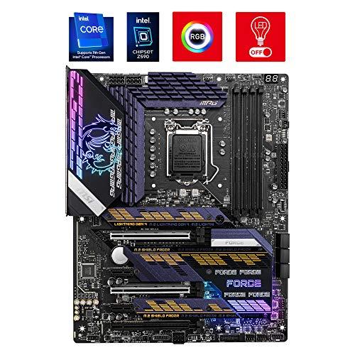 MSI MPG Z590 GAMING FORCE Scheda Madre ATX - Supporta i processori Intel Core di 11th Gen, LGA 1200 - Mystic Light, 16 Duet Rail 75A VRM, DDR4 Boost (5333MHz/OC), 2x PCIe 4.0 x16, 3x M.2 Gen4/3 x4