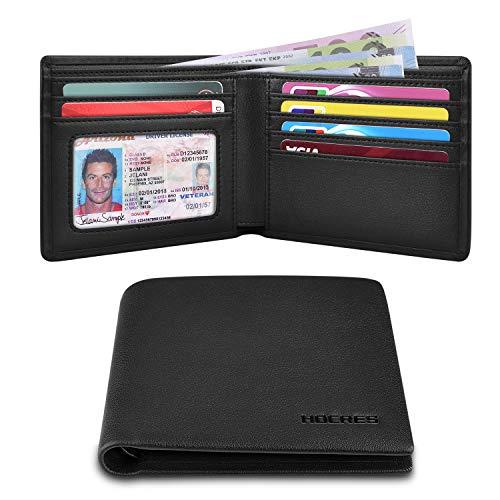 HOCRES Billetera delgada para hombre, con bloqueo RFID, con 7 soportes para tarjetas de crédito, 2 compartimentos para billetes, ventana de identificación para hombres con caja de regalo.