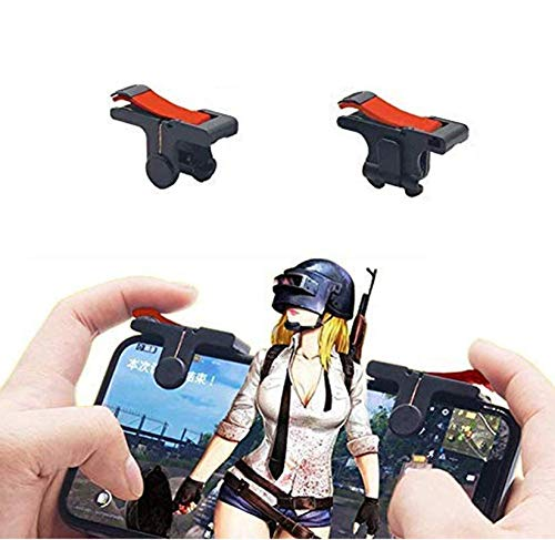 WOWMOB Pro Lightweight Easy to Carry 1 Pair Pubg Red Black ABS Triggers L1 R1 Shooting Aim Button Joystick Gampad Controller for All Mobiles – (Red Black) [Pack of 2]