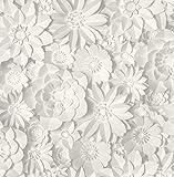 Fine Décor 3D Floral Weiß, Einheitsgröße
