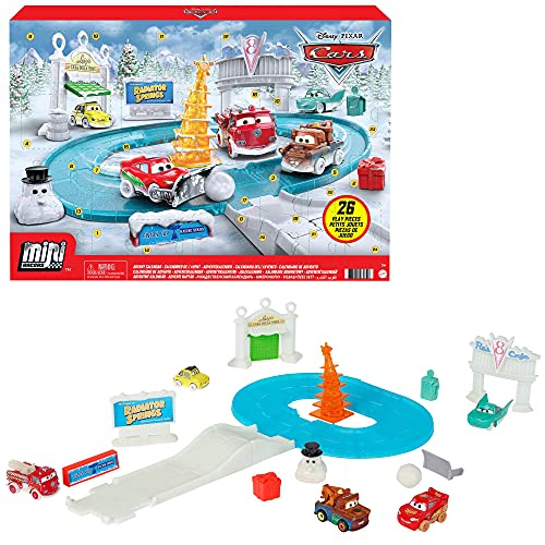 Disney Pixar Cars Minis Advent Calendar Playset, One a Day Storytelling Racecar Accessories & Surprises, for Kids Age 3 Years and Older